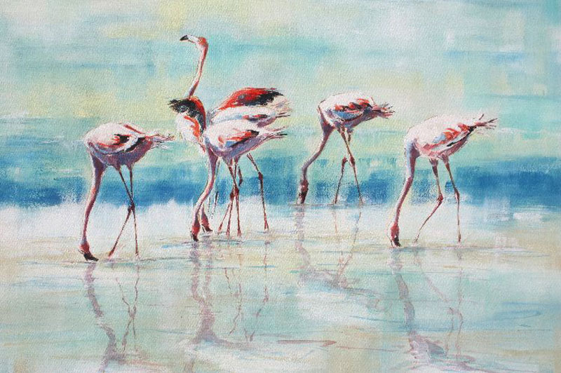 Nogrongoro Flamingoes Tanzania acrylic painting artwork by Julia Cassels