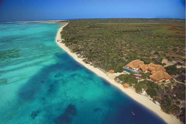 Mozambique Azurra Benguerra beach aerial