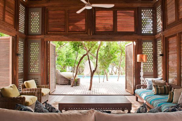 Kapila Villa lounge overlooking private pool, Vamizi Island, Mozambique