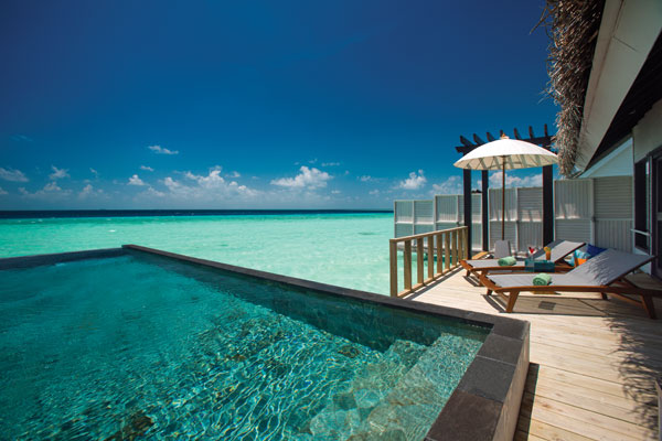 Wind Villa over water bungalow with pool, OZEN by Atmosphere, Maldives
