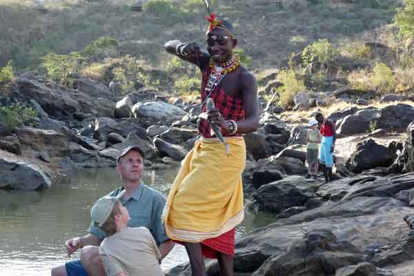 Richard fishing with his son at Laikipia Wilderness, Kenya