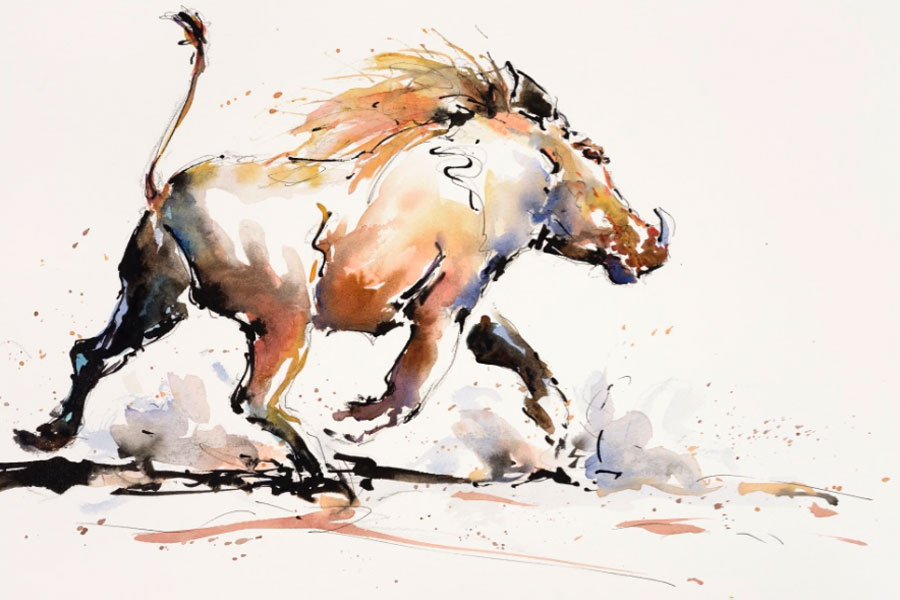Warthog fine art painting in water colour