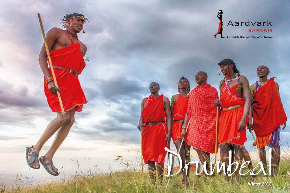 Drumbeat Winter 2018 frontcover featuring Masai jumping