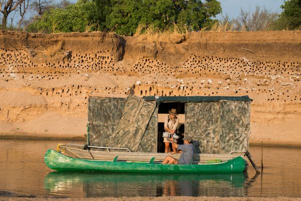 Carmine Bee Eater floating hide, Kaingo Camp, Zambia