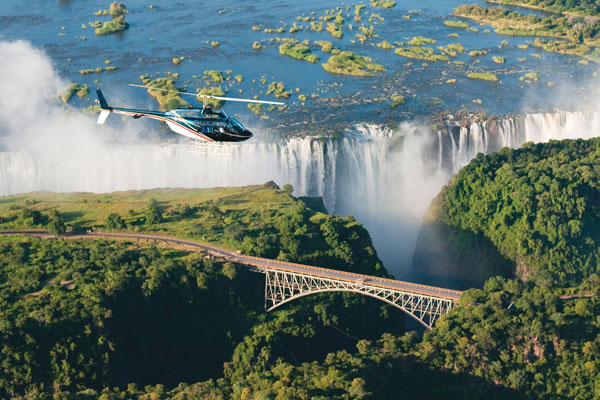 Microlighting above the falls, Toka Leya, Wilderness Safaris