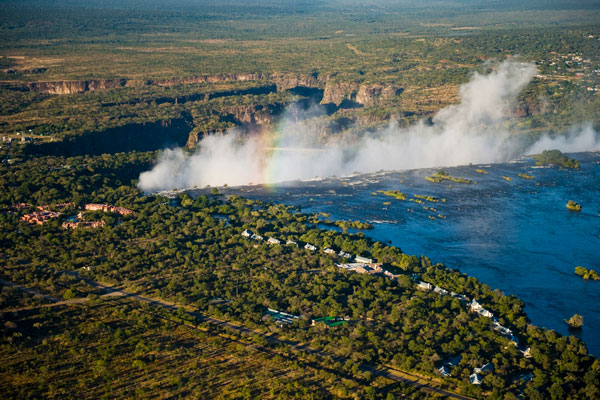Victoria Falls from the air, Royal Livingstone Hotel
