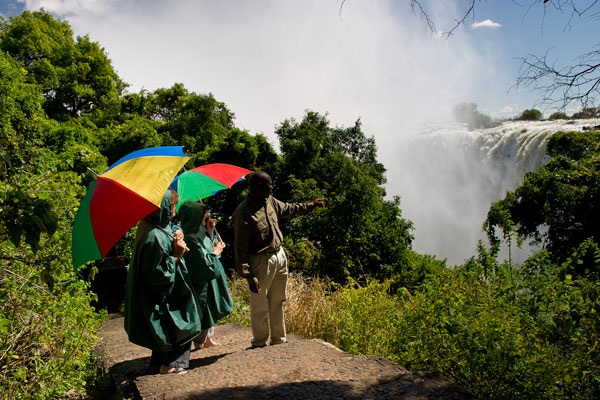 Taking a tour of the falls, Toka Leya, Wilderness Safaris