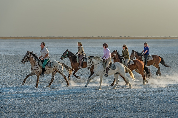 Riding on the Makgadikgadi salt pans