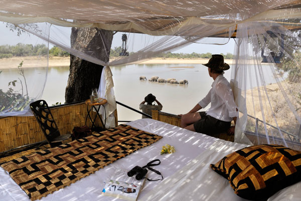 safari experts on best hides; Hide at Kaingo Camp, South Luangwa, Zambia