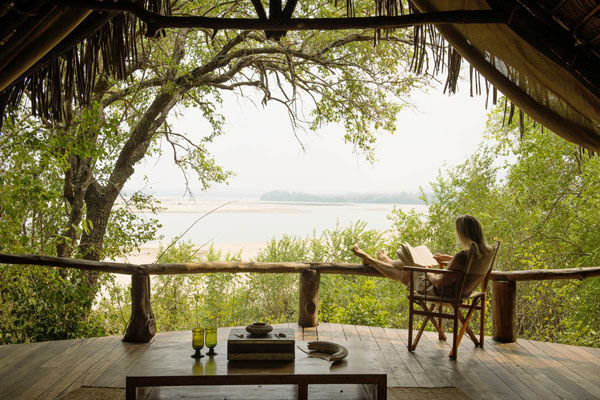 Verandah overlooking the Rufiji River, Sand Rivers, Selous, Tanzania