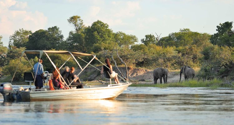 family river boat cruise Zambezi watching elephants - River Club - family safari camps in Zambia