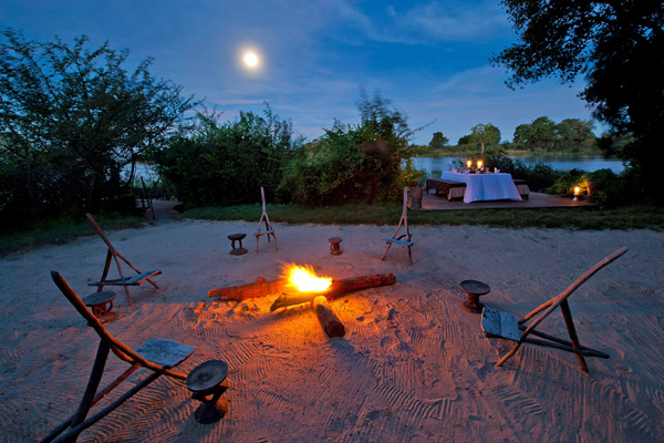 Candlit stargazing after dinner at Sindabezi island family safari experiences