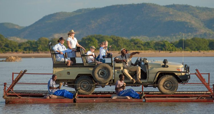 Family safari Robin Pope Safaris car ferry in Zambia - family safari experiences