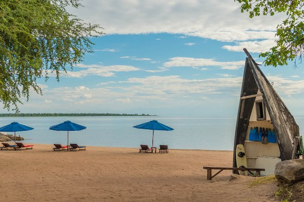 Boat beach bar at Pumalani, Lake Malawi, Malawi Zambia and Malawi