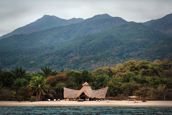 Beautiful setting of Greystoke Mahale in the Mahale Mountains alongside Lake Tanganyika