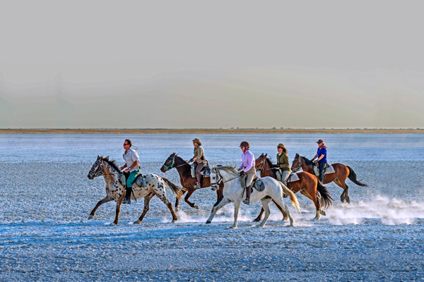 Cantering group of 5 riders on the salt pans, Makgadikgadi, Botswana lodge based day rides