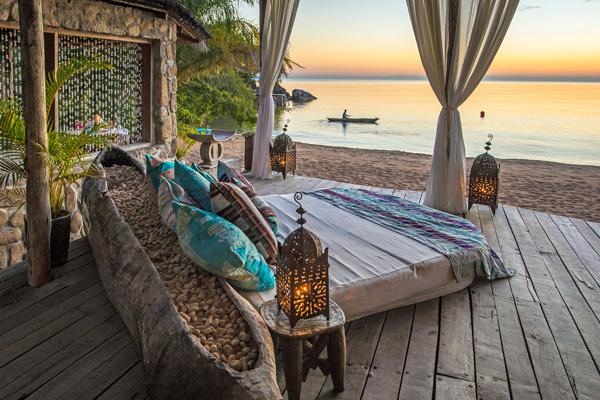 Daybed on the shores of Lake Malawi, Kaya Mawa