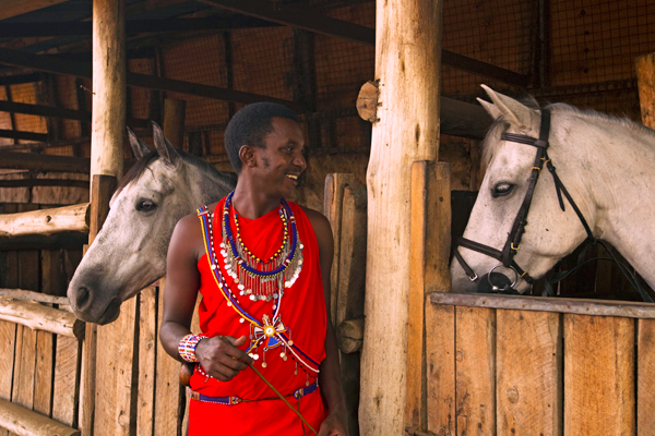 Stables and groom at Ol Donyo Lodge, Kenya lodge based day rides