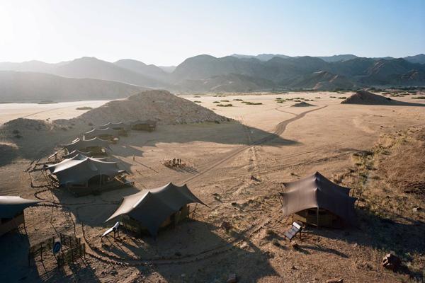 Aerial of Hoanib Valley Camp, Kaokoland, Namibia, Natural Selection