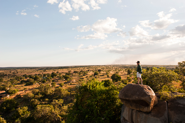 Perfect sundowner spot on a rock overhang at Lamai Serengeti