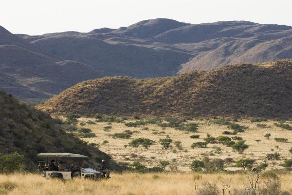 Game drive through the Kahalari scenery, Tswalu
