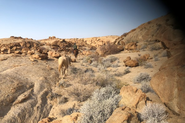Crossing the epic desert landscape.