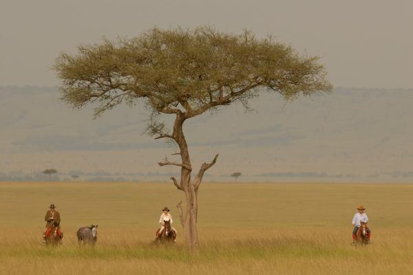 Riding across the plains.