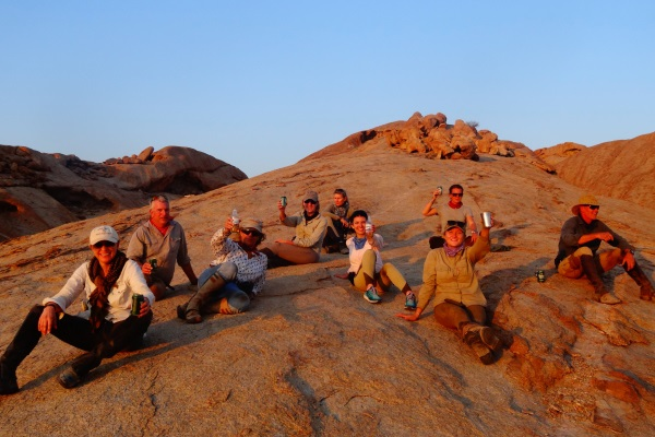 Sundowners on the Namibia guides' ride.