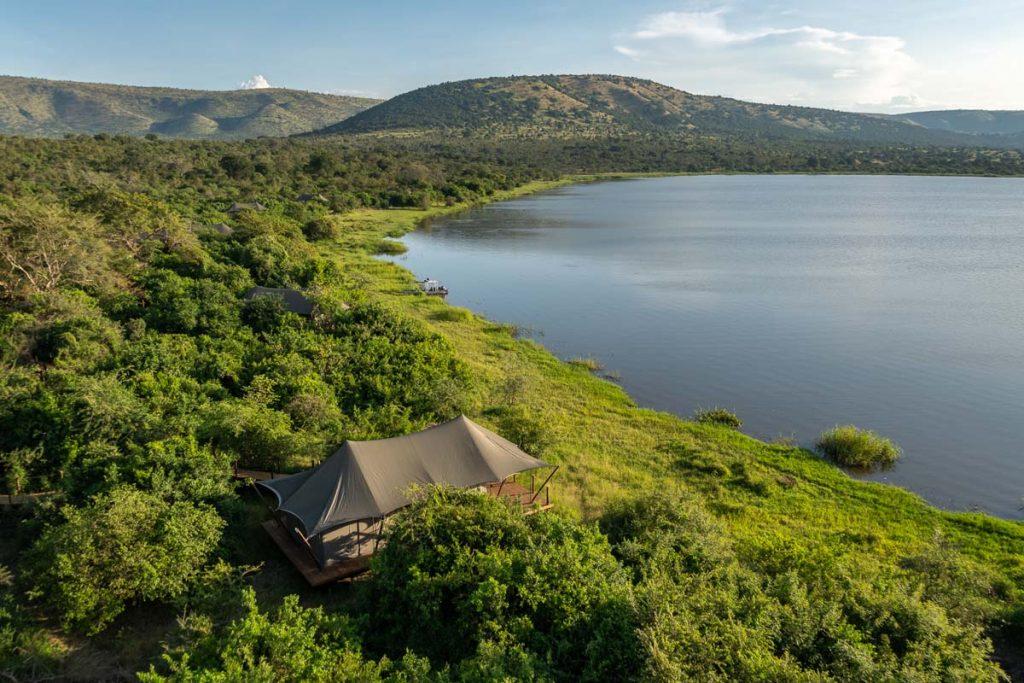 Magashi Camp aerial view of lake