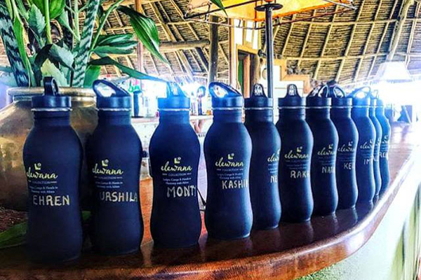 Refillable guest water bottles, Elewana Collection