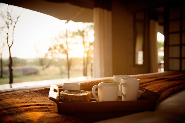Early morning hot drinks served in your tent at Sayari Camp, Serengeti, Tanzania