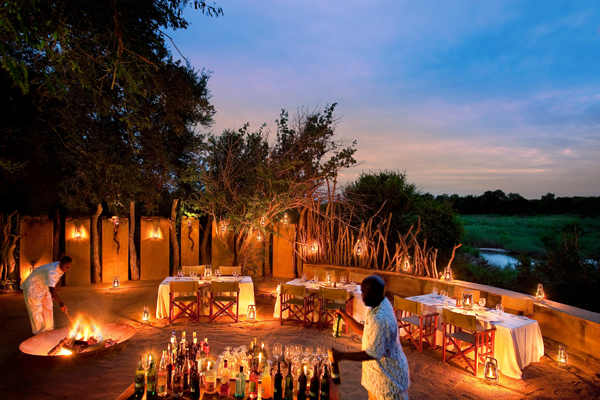 Sundowners and after dinner drinks at Tinga Lodge, Lion Sands, South Africa