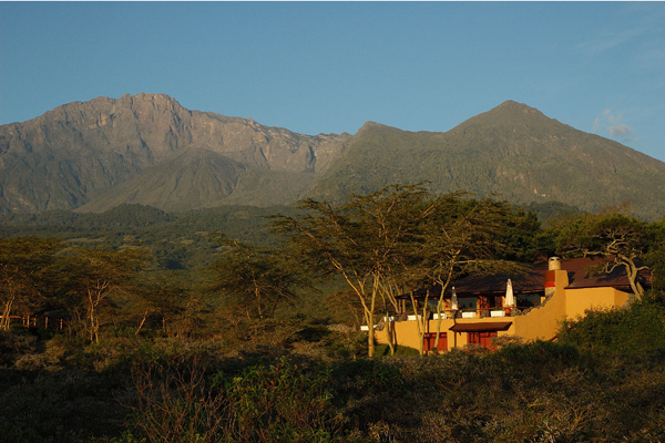 Views of Mount Meru from Hatari Lodge, Arusha, Tanzania