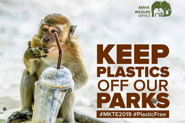 """Keep Plastics off our Parks #MKTE2019 #PlasticFree"" monkey drinking from a plastic fruit cup"