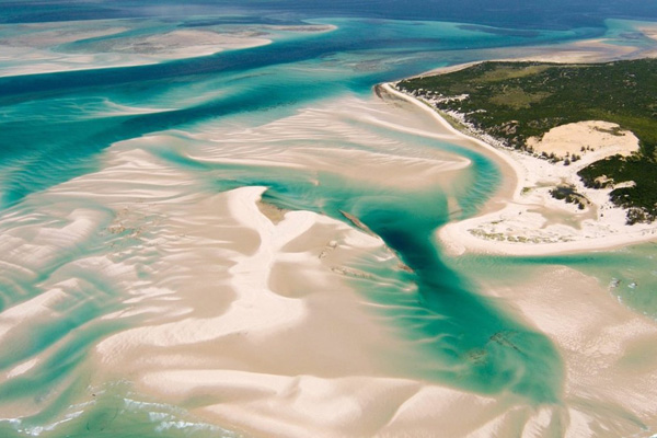 Aerial of the shifting white sands of Benguerra Island
