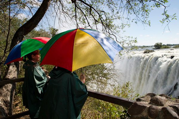 Taking cover at Victoria Falls