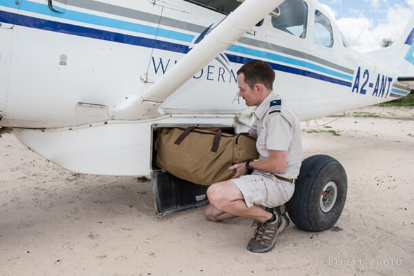 Bags have to fit into the luggage pod on a light aircraft