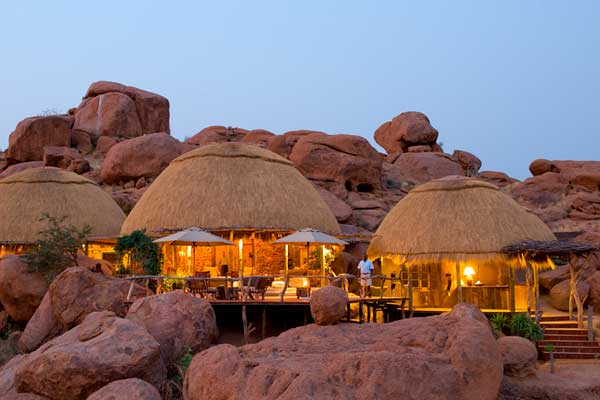 Mowani Mountain Camp nestled amid boulders in the Damaraland landscape, Ultimate Safaris