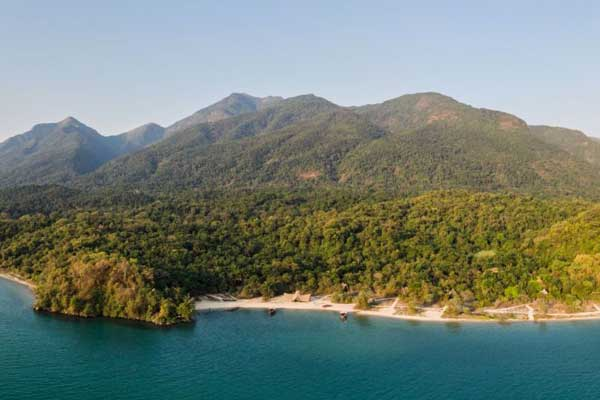 Greystoke Mahale on the shores of Lake Tanganyika aerial