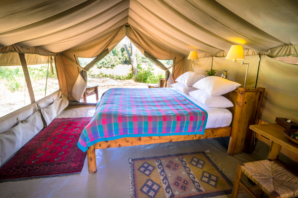 Traditional bedroom safari tent at Kitich Camp