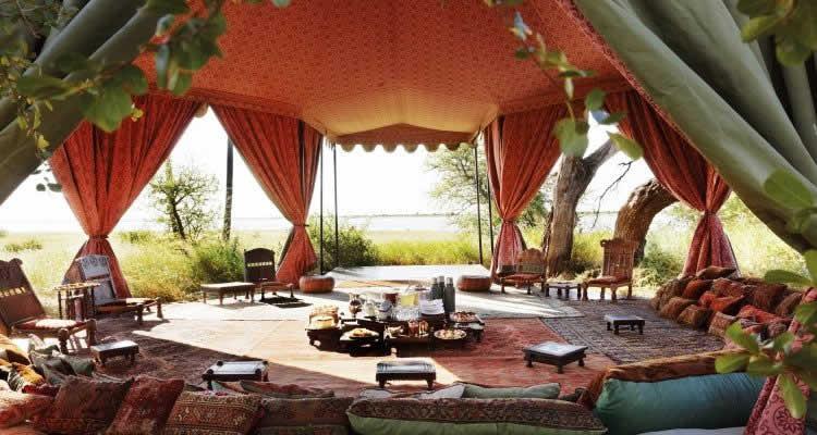 Jack's Camp Bedouin tea tent interior