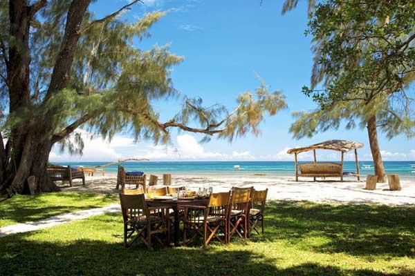 Pretty gardens and beach at Kinondo Kwetu, Kenya -dining alfresco