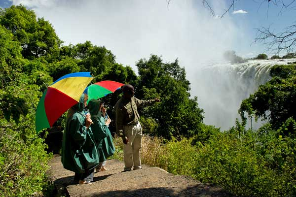 Enjoying the Victoria Falls, Toka Leya Camp, Zambia