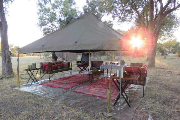 Mess tent at camp two, where the local hyena steal the cushions