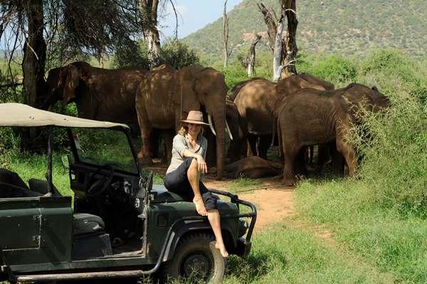 Elephants on a with Saba Douglas-Hamilton at Elephant Watch Camp. (credit. Tim Beddow)