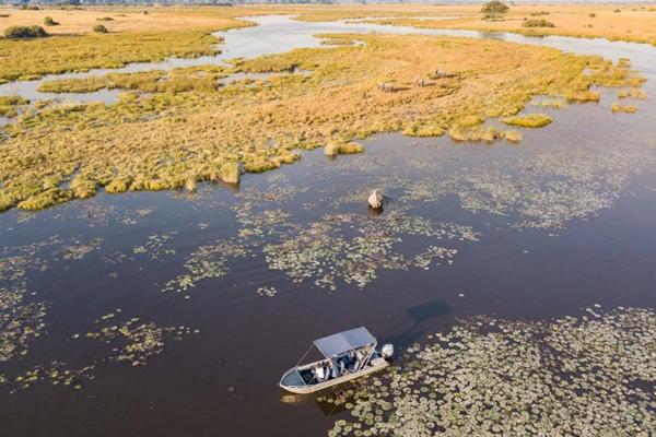 Boating in the Okavango Delta from Selinda Camp