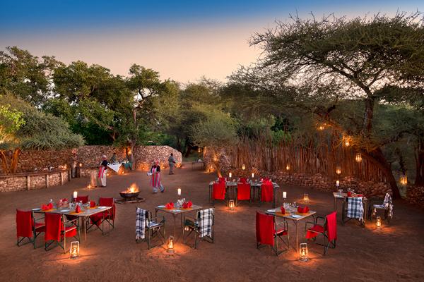 Preparing for a boma dinner at Pafuri Main Camp. safari dining