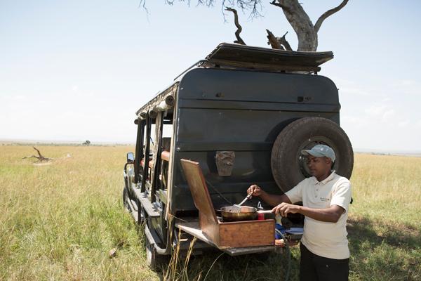 Mobile safari breakfast at Sala's Camp, Masai Mara, Kenya