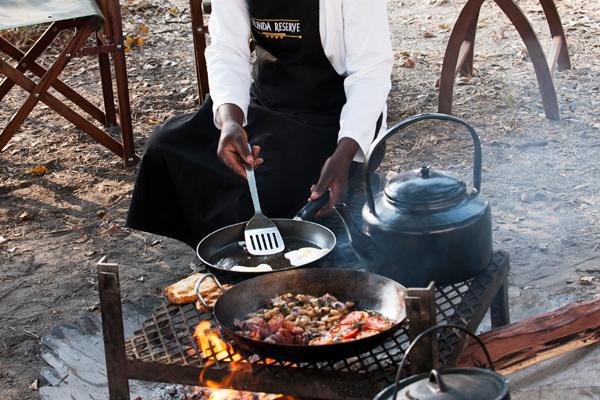 Full English hot breakfast at Selinda Explorers Camp, Great Plains, Botswana