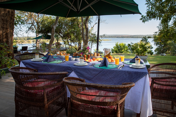 Breakfast overlooking the Zambezi at the River Club, safari dining